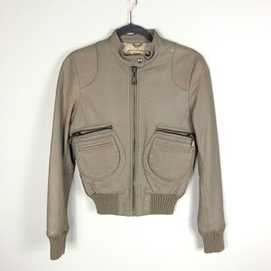 Doma Taupe Leather Bomber Jacket Small